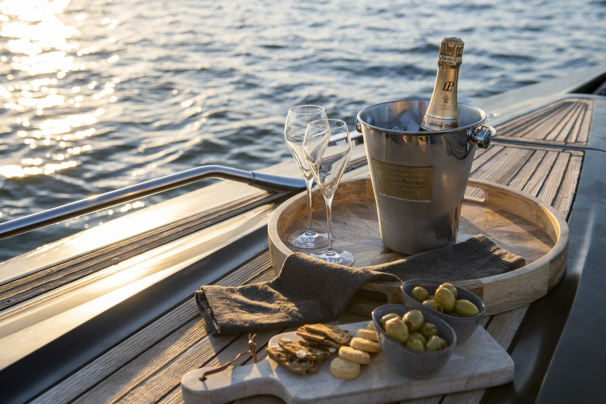 Nibbles and drinks on AERO Power Boat Charters Lymington